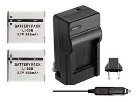 2 Baterias Li-50b + Carregador P/ Olympus Sp-800, Sz30