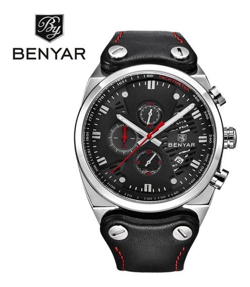 Relógio Masculino Militar Esportivo Pulseira Couro Benyar Original Parcelado Em 12x Sem Juros
