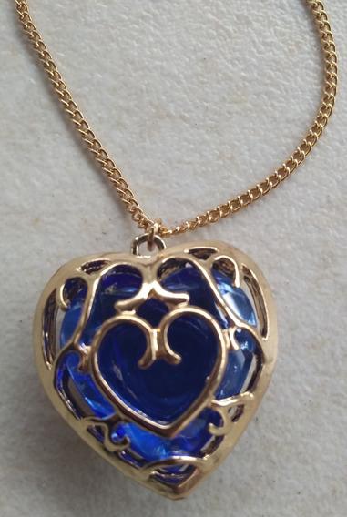 Colar Feminino Coração Azul