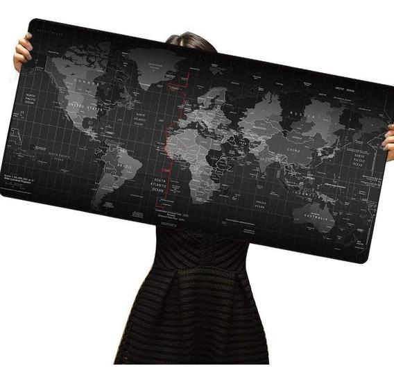 Mousepad Extra Grande 90x40 Mapa Mundi Para Jogos Pc