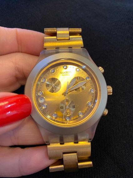 Relógio Swatch Svck4032g Dourado - Usado - Ótimo Estado