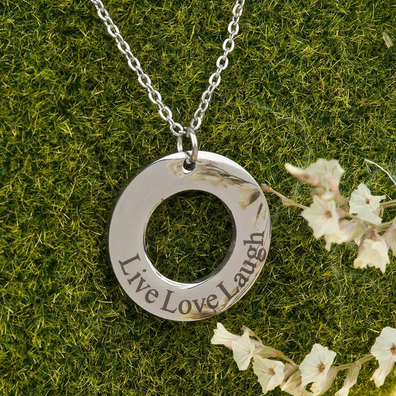 Live Love Laugh Collar Plateado De Acero Inoxidable