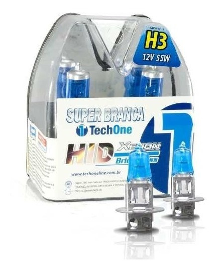 2 Lampadas Xenon H3 Super Branca Homologada 8500k Techone