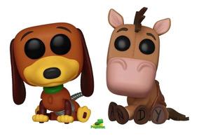 2 Funko Pop Slinky Dog + Bullseye Disney Toy Story F. Grátis