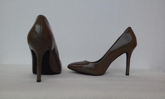 Zapatos Altos Jessica Simpson Charol Verde Oliva #37 Nuevos.