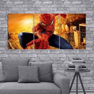 Cuadro Triptico Spiderman Hombre Araña 90x40cm