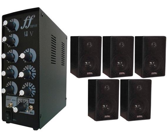 Kit 5 Caixa Som Ambiente E 1 Amplificador E Setorizador