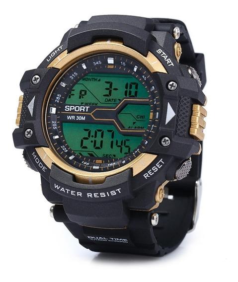 Relógio Led Digital Esportivo De Homens - Dourado E Azul
