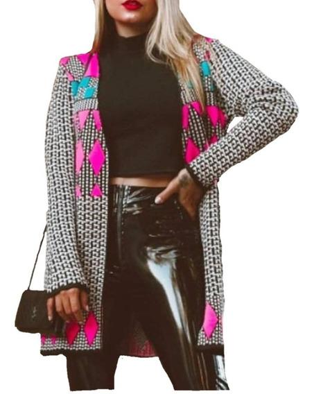 Casaco Cardigan Kimono Tricot Estampado Geometrico