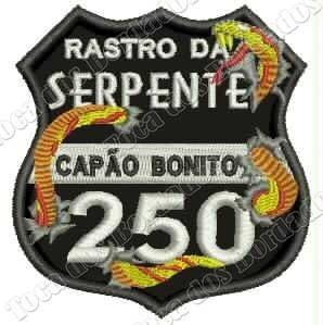 Bordado Rastro Serpente Preto 7,5x7cm Rota Moto Bike Car937