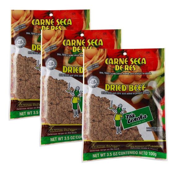 Carne Seca De Res Tia Lencha Paq Con 3 Bolsas De 100 Gr C/u