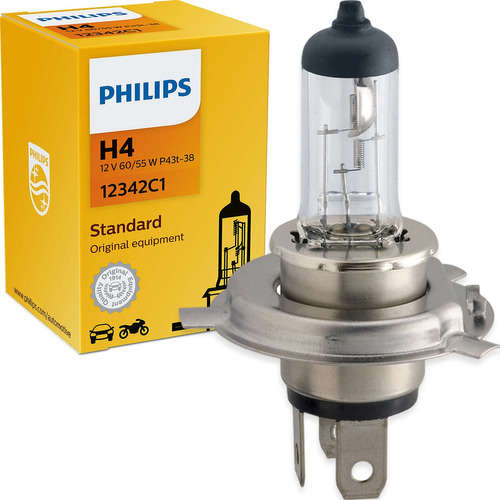 Lâmpada Philips Standard H4 55/60w 12v 12342c1 Farol Comum