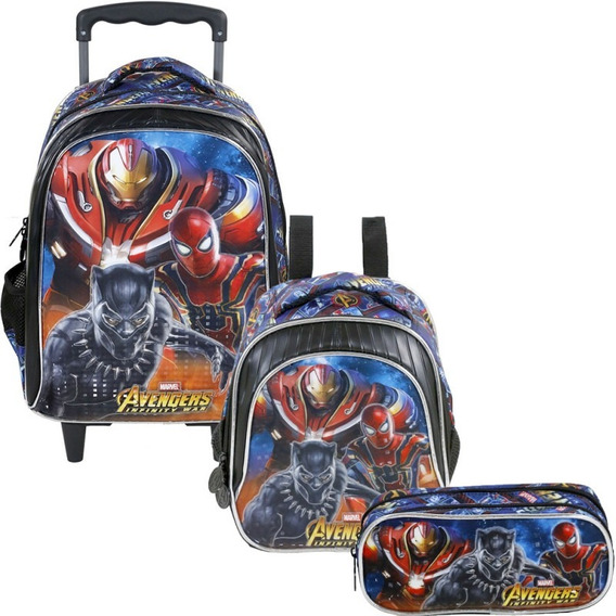 Mochila Infantil Masculina Vingadores Avengers Lancheira E Estojo Duplo - Xeryus Original