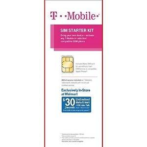 T-mobile Sim Starter Kit Con $ 30 Del Servicio Incluido (tam