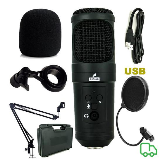 Microfone Arcano Usb Com Braço Artculado Pop Filter E Outros