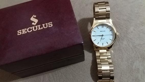 Relógio Masculino Dourado Seculus Long Life 5atm - Pouco Uso