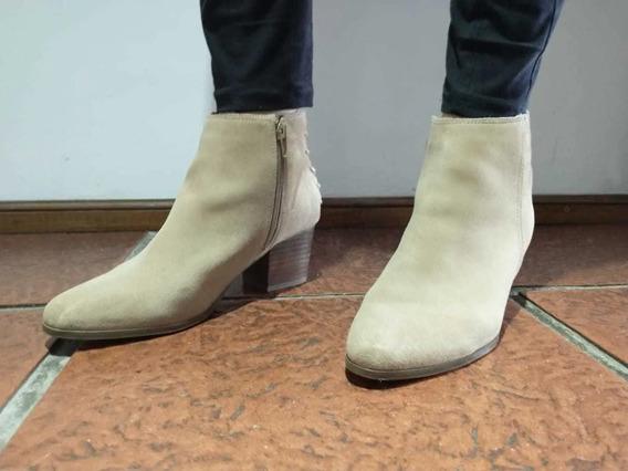 Botas Mujer Aldo Originales Beige Talle 38.5 Cuero Gamuzado