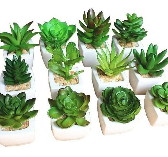 Kit Com 6 Plantas Mini Suculentas Artificiais Vaso Cerâmica
