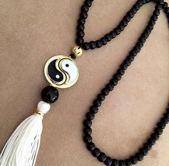 Japamala Com 108 Contas Pedra Ônix Hooponopono Yin Yang