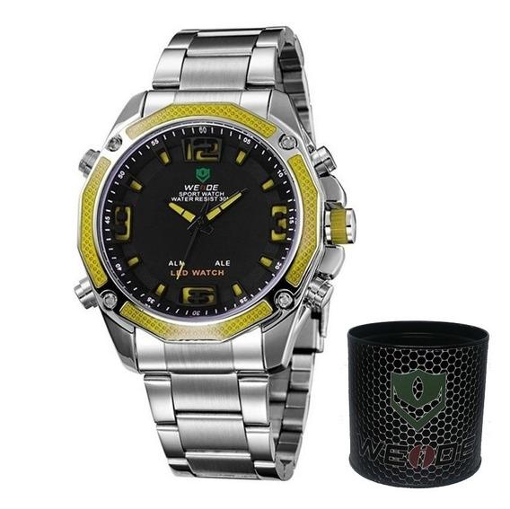 Relógio Masculino Anadigi Weide Casual Wh-2306 Prata Amarelo