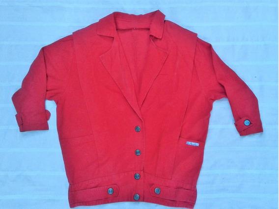 Jaqueta Jeans Anos 80 S Vermelha Retrô
