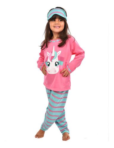 Imagem 1 de 2 de Pijama Longo Inverno Bichos Criança Com Máscara De Dormir