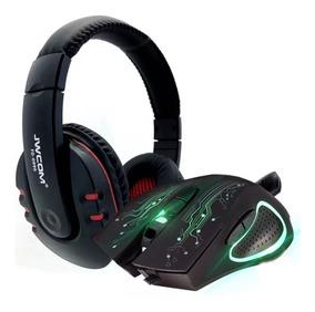 Kit Gamer Mouse Led 3200dpi + Fone Headset Microfone Usb 7.1