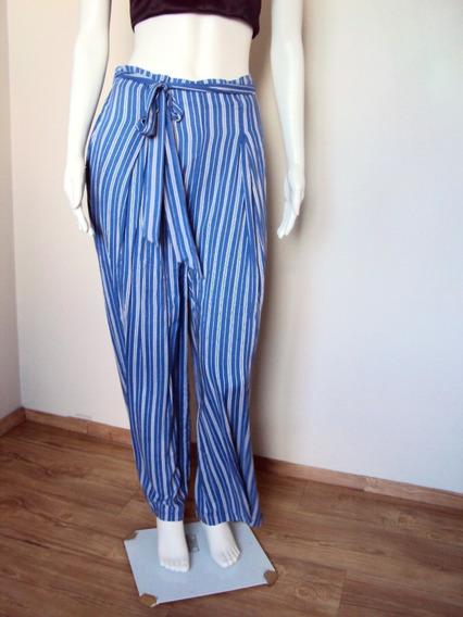 Calça Feminina Longa Larga Viscose Listras Azul E Branca