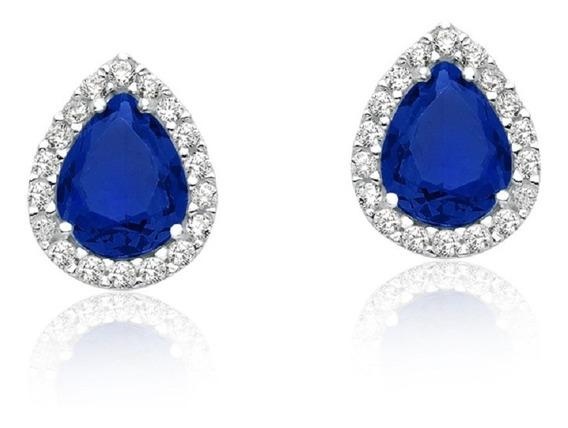 Brinco De Prata Gota Azul Safira Princesa