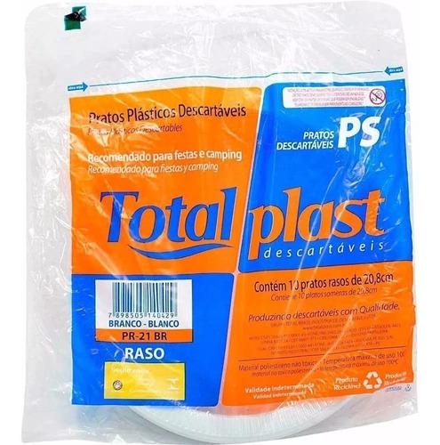 Prato Refeição Descartavel 21cm Raso 150 Unid Total Plast