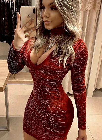 Vestido Marsala Bordado Com Choker Vanessa Lima Tam 38