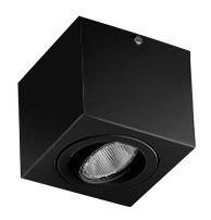 Spot Plafon Sobrepor 1 Par20 Preto C/ Lamp. 7w Branco Quente