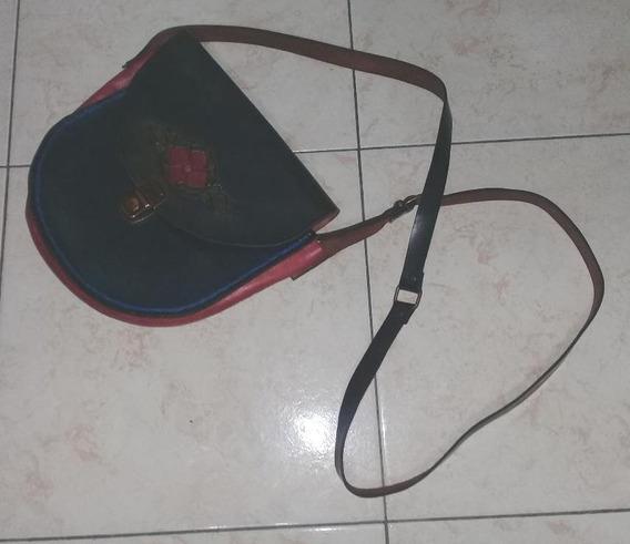 Cartera Cuero Suela Oval Azul Rojo Negro 23 Cms
