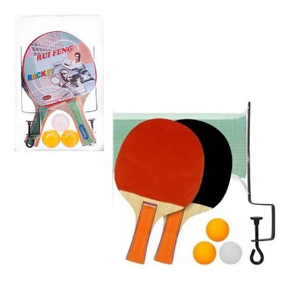 Kit Ping Pong Tênis De Mesa Combo Raquete + Bolinhas + Rede