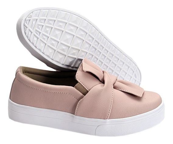 Slip On Feminino Tenis Casual Dkshoes Modelo Laço