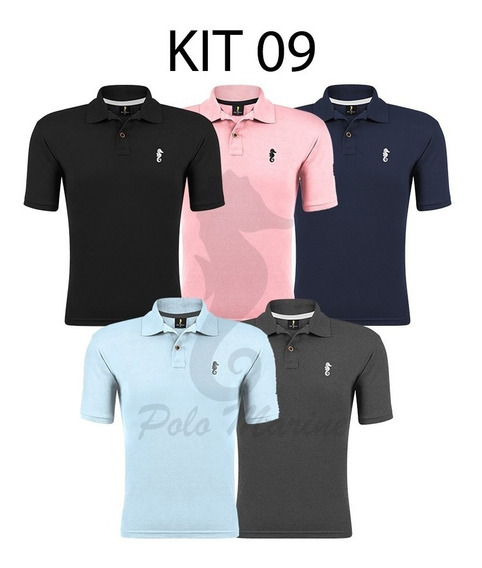 Combo 5 Camisa Algodão Piquet Gola V Polo Masculina Slim Fit