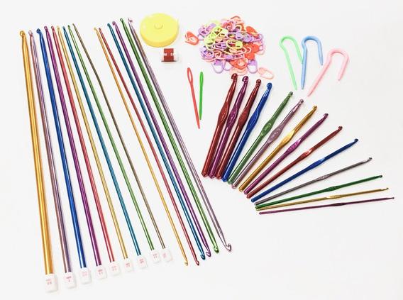 Kit 15 Agujas Tunecino + 14 Agujas Crochet + Accesorios
