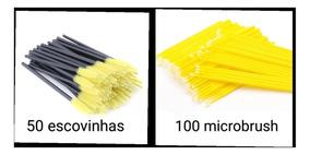 100 Microbrush E 50 Escovinhas Para Alongamento De Cílios