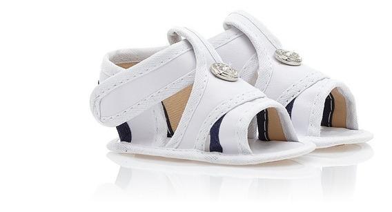 Sandália Branca E Azul Com Velcro