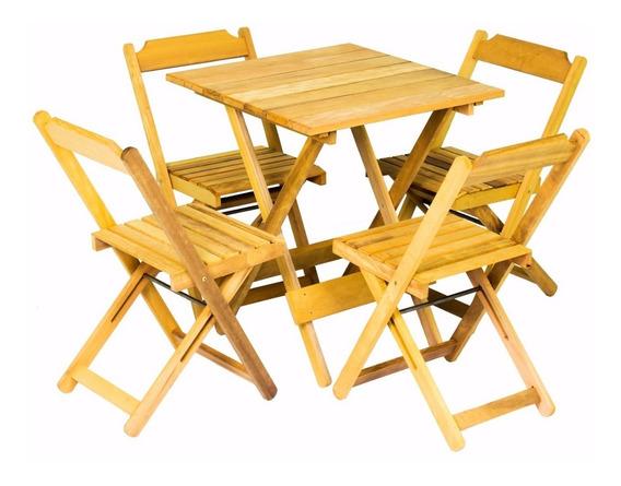 Mesa 70x70 Com 04 Cadeiras Dobrável Restaurante Lanchonete