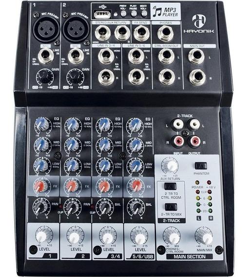 Mesa De Som 8 Canais Hmx-108 Hayonik Com Usb E Phantom Power