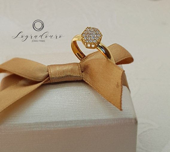 Anel Noivado Ouro 18k Zircone 1,7g + Garantia