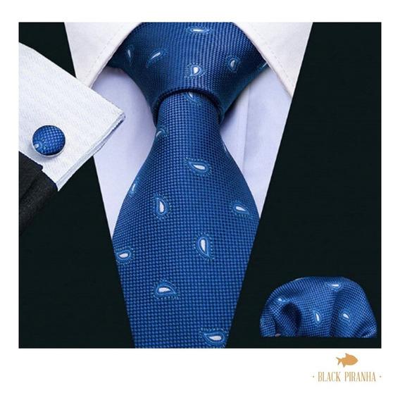 Corbata Pañuelo Y Mancuernillas Azul Rey Paisley Blanco
