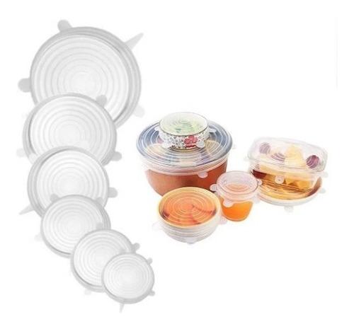 Set 6 Tapas Silicona Ajustable Conserva Alimentos Frescos