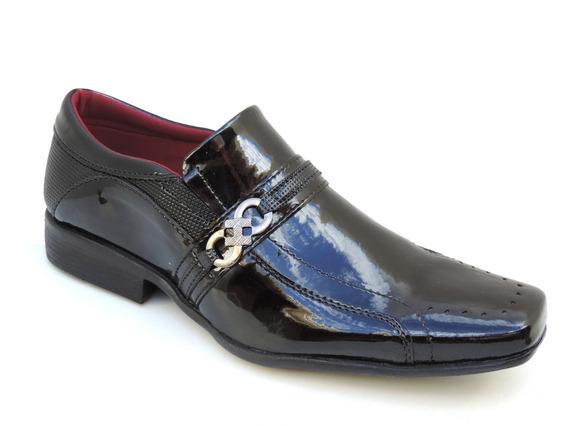 Sapato Masculino Social Couro Verniz Presente Dia Dos Pais