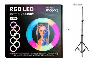 Aro Luz 26 Cm + Tripode Profesional Rgb Led 2.00m Altura