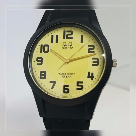 Relógio Q&q Preto Fundo Dourado - Vq50j001y