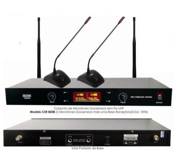 Microfone Gooseneck Duplo Sem Fio Uhf Csr820b