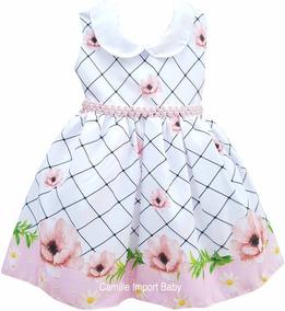 Vestido Festa Infantil Floral Princesa Luxo E Tiara