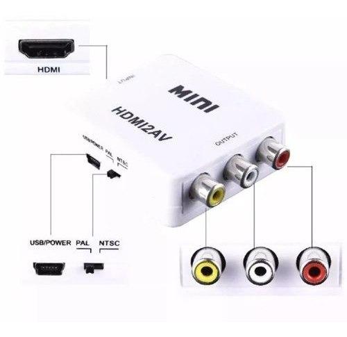 03 Mini Adaptador Hdmi2av Conversor Hdmi Video Composto Rca